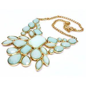🆕 Mint Green Enamel Statement Necklace